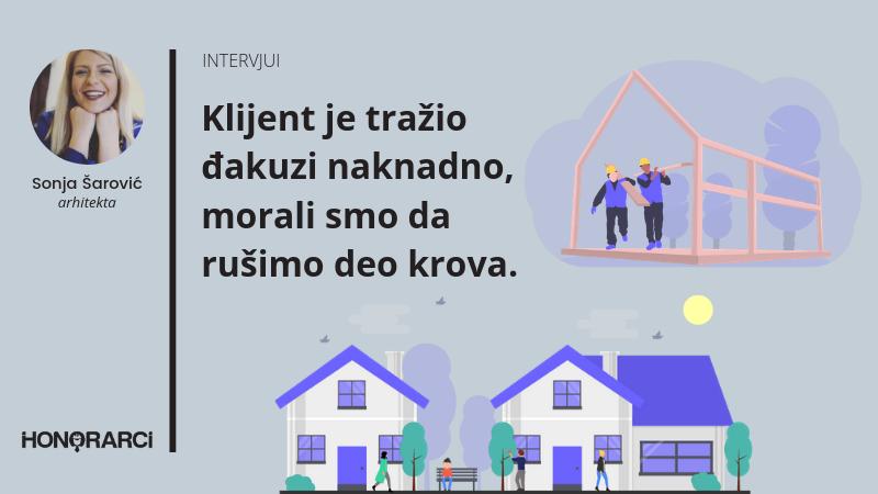 """""""Klijent je tražio đakuzi naknadno, morali smo da rušimo deo krova."""" Sonja Šarović, arhitekta"""